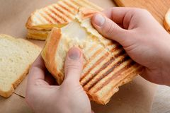 Hands tearing a sandwich. In two. Crunchy grilled crust and melted Cheddar cheese pull stock images