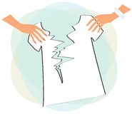 Hands tearing t-shirt Royalty Free Stock Photo
