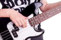 Hands of an teenager plays guitar Stock Images