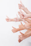 Hands of teenagers showing okay sign on white Royalty Free Stock Photo
