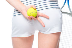 Hands tennis player with props for tennis gesticulate Stock Image
