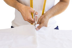 Hands textile cutting Royalty Free Stock Images