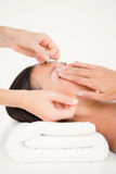 Hands threading beautiful womans eyebrow Royalty Free Stock Photos