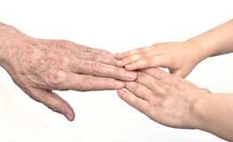 Hands of three generations. Old man, woman and child Stock Photo
