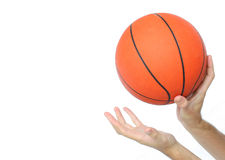Hands throwing or catching a basketball ball isolated Stock Photography