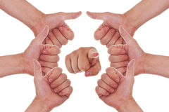Hands with thumbs up making a circle Stock Photos