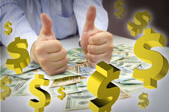 Hands with thumbs up, money and dollar signs floating. Businessman's hands with thumbs up over bulk of money with 3d dollar signs floating around them Stock Photography