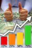 Hands with thumbs up, money and graph Stock Photo