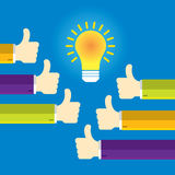 Hands in thumbs up sign and lamp light. Stock Photography