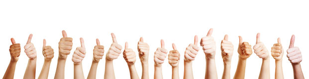 Hands with thumbs up Stock Images