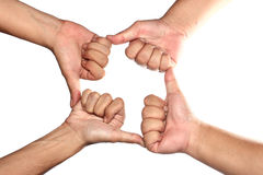 Hands thump up,'Like' sign, on white background Stock Images