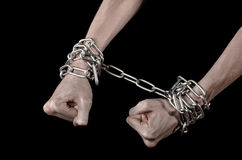 Hands tied chain, kidnapping, dependence, loneliness, social problem, halloween theme, black background Royalty Free Stock Images