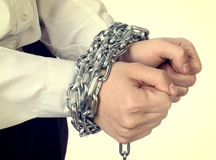 Hands tied Chain Royalty Free Stock Image