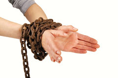 Hands tied with chain,  on white Stock Images