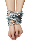 Hands tied chain Royalty Free Stock Photos