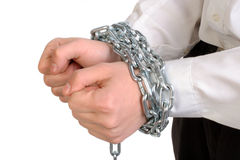 Hands tied chains Stock Photos