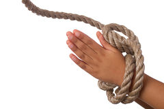 Hands tied up in praying position Royalty Free Stock Photo
