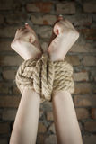 Hands tied up with rope Royalty Free Stock Photos
