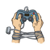 Hands tied by wire game controller. Game dependence concept. Stock Image