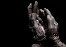 The Hands Of Time. Black and White image of Older Lady's hands Royalty Free Stock Photos