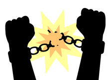 Hands to break the shackles. Hands clenched into fists to break the shackles Stock Image