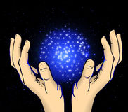 Hands to the cosmic energy Royalty Free Stock Photo