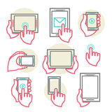 Hands to hold the phone. Modern set in a line style with hands to hold the phone. Hand touch the tablet monitor. vector illustration eps 10 Royalty Free Stock Photo