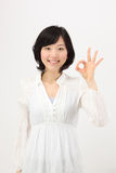 Hands to make young asian women Stock Photos
