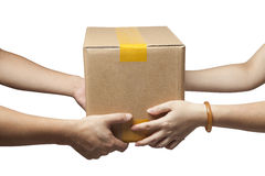 hands to receive a parcel Stock Image