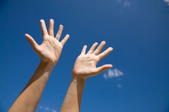 Hands to the sky. Two hands with the opened palms last upwards to the blue sky Stock Image