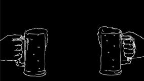 Hands toasting beer celebration drawing 2D animation