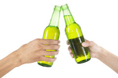 Hands toasting with beer isolated Royalty Free Stock Photos