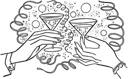 Hands Toasting Drinks Royalty Free Stock Photography