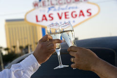 Hands Toasting White Wine Royalty Free Stock Photo