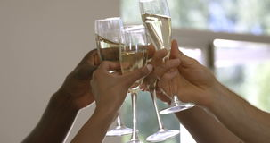 Hands toasting wine glasses. At home 4k stock video footage