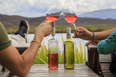 Hands toasting wine Royalty Free Stock Photo