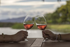 Hands toasting wine. Two hands toasting wine with a scenic background Stock Photos
