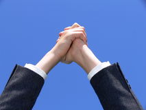 Hands together. With a hope message Stock Image