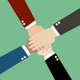 Hands together. Brainstorm teamwork ideas concept Stock Image