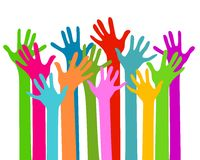 Hands together. Colorful hands raised up Royalty Free Stock Photos