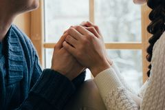 Hands together couple royalty free stock images