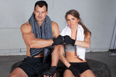 Hands together - fitness team after crossfit training Royalty Free Stock Images