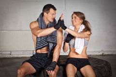 Hands together - fitness team after training - high five Royalty Free Stock Photography