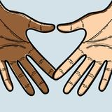 Hands together to celebrate freedom day. Vector illustration Royalty Free Stock Images
