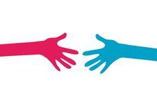 Hands together. Two human hands joining Royalty Free Stock Images