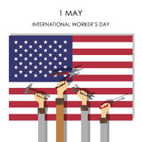 Hands with tools on the background of the USA flag . Flat style. Royalty Free Stock Photo