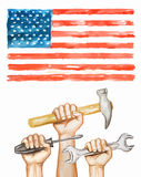 Hands with tools on the background of the USA flag. Happy labor day watercolor illustration Stock Photos