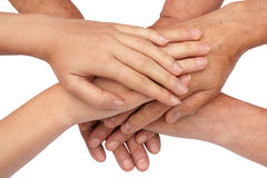 Hands on top of each other Royalty Free Stock Photos