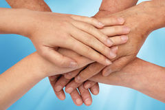 Hands on top of each other in nature Royalty Free Stock Photography
