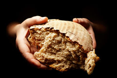 Hands with torn loaf of bread Stock Photography